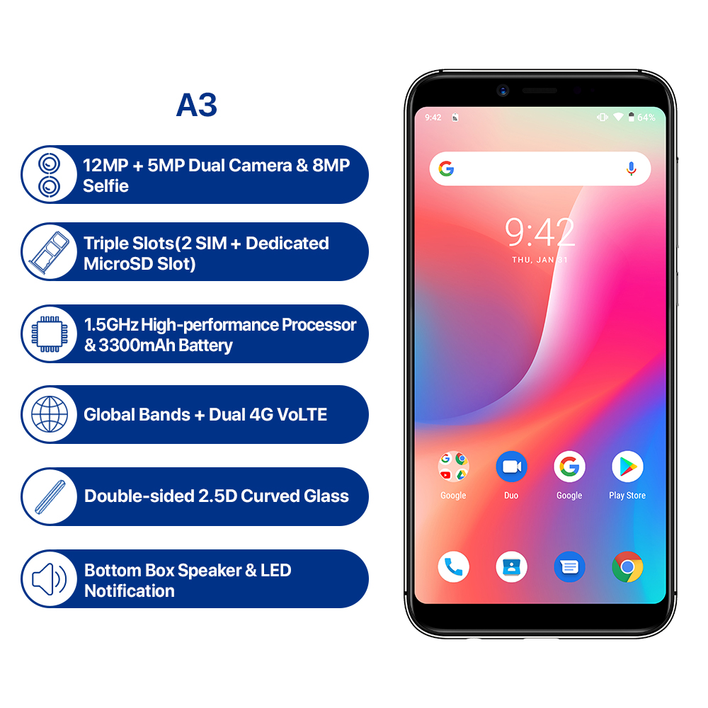 "UMIDIGI A3 Android 9 0 Global Band 5 5 incell HD display 2GB 16GB smartphone Quad UMIDIGI A3 Android 9.0 Global Band 5.5""incell HD+display 2GB+16GB smartphone Quad core 12MP+5MP Face Unlock Dual 4G Mobile phone"