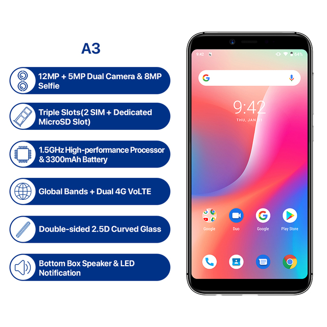 "UMIDIGI A3 Android 9.0 Global Band 5.5""incell HD+display 2GB+16GB smartphone Quad core 12MP+5MP Face Unlock Dual 4G Mobile phone 1"