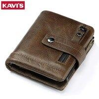 KAVIS Genuine Leather Wallet Men Coin Purse Portomonee Vallet With Pockets PORTFOLIO Male Perse Short Fashion