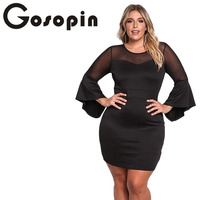 Gosopin Mini Sexy White Party Dresses For Plus Size Women Long Butterfly Sleeve Dresses Ladies Oversized