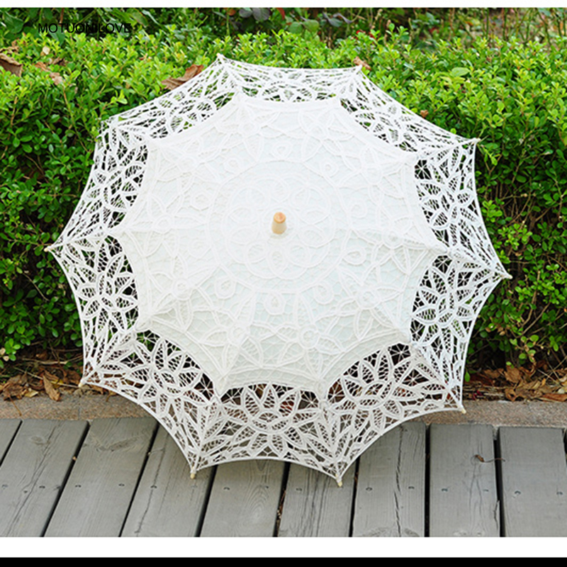 2019 Spring Fashion Lace Sun Umbrella For Bride White Ivory Wedding Umbrella Vintage Wedding Parasol Bridal Accessories WU005
