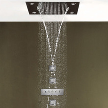 Luxury Rainfall Bathroom Faucet Set Brass Thermostatic Mixer Shower Panel System 800x600mm Big LED ducha Head shower Body jets