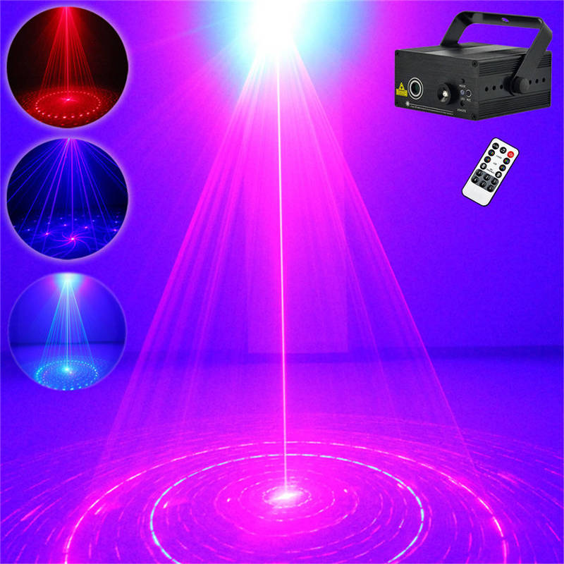 AUCD Mini 8 Patterns Red Blue Laser Projector Stage Light 3W Blue LED Mixing Effect DJ Home Party KTV Laser Show Lighting Z08RB 3 lens 36 patterns rg blue mini led stage laser lighting professinal dj light red gree blue