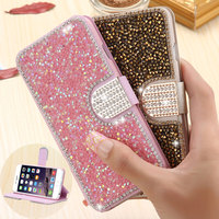Luxury Bling Diamond Flip Leather Wallet Case For Samsung galaxy S7 S6 edge Plus S5 S4 Note 5 4 3 2 Card Slot Stand Holder Cover