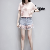 MUMUZI Euro Style 2018 Short Sleeve Pink T shirt and Blue Denim Flower Patches Shorts 2 Pieces Set Short Jean Trousers