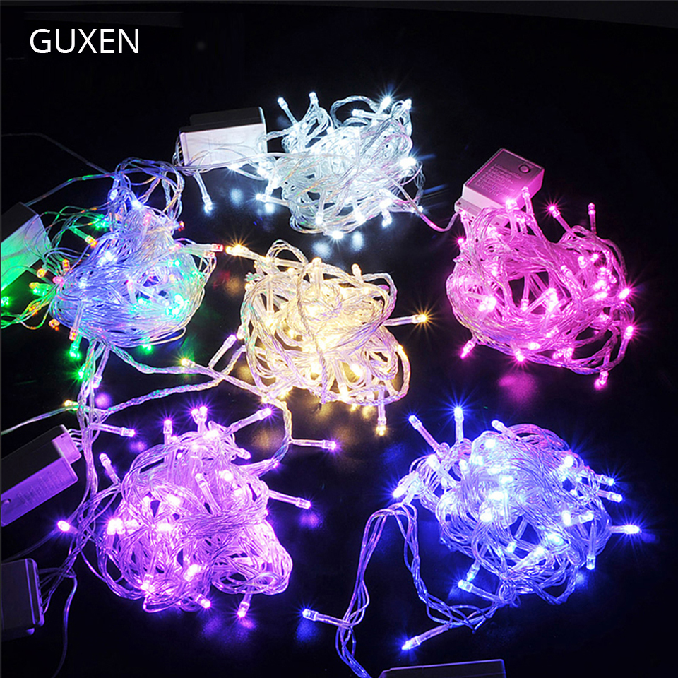 GUXEN 10M 100leds string light EU plug 220V Christmas lighting Outdoor festive lights RGB/warm white/white/blue/red/green/purple