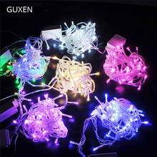 GUXEN 10M 100leds string light EU plug 220V Christmas lighting Outdoor festive lights RGB/warm white/white/blue/red/green/purple 220v 110v 328ft 100m 600led warm white red yellow blue green purple pink multicolor string light for christmas party wedding