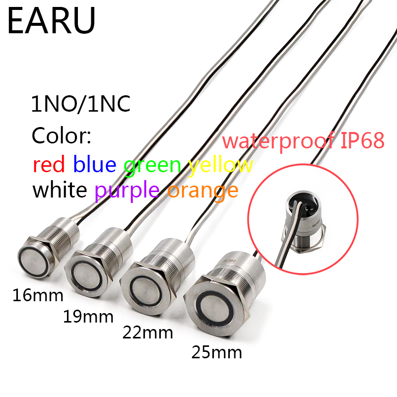 16mm 19mm 22mm 25mm Stainless Steel Metal Push Button Switch Touch ON/Off Switch Waterproof IP68 IC Core LED Light Illuminated16mm 19mm 22mm 25mm Stainless Steel Metal Push Button Switch Touch ON/Off Switch Waterproof IP68 IC Core LED Light Illuminated