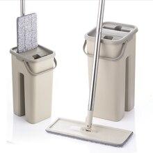 Düz sıkma paspas ve kova el ücretsiz sıkma zemin temizleme mikrofiber paspas pedleri islak veya kuru kullanım parke laminat karo
