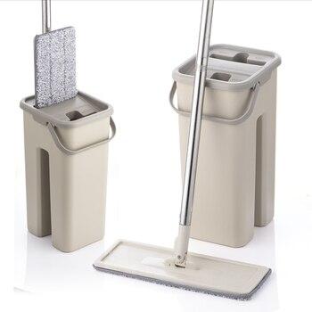 Fregona de compresión plana y cubo Manos libres escurrir de microfibra para limpiar pisos almohadillas de fregona uso húmedo o seco en baldosas laminadas de madera dura