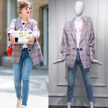 Spring 2019 Star Zhao Wei Chinese Restaurant 2 Same Chequered Loose Korean Port Style Retro Suit Jacket Plaid Women Coat
