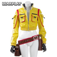 Final Fantasy XV Cindy Aurum FF15 Jacket Cosplay Costumes Men Women Sexy PU leather Jackets Tool Bag Gloves Halloween Uniform