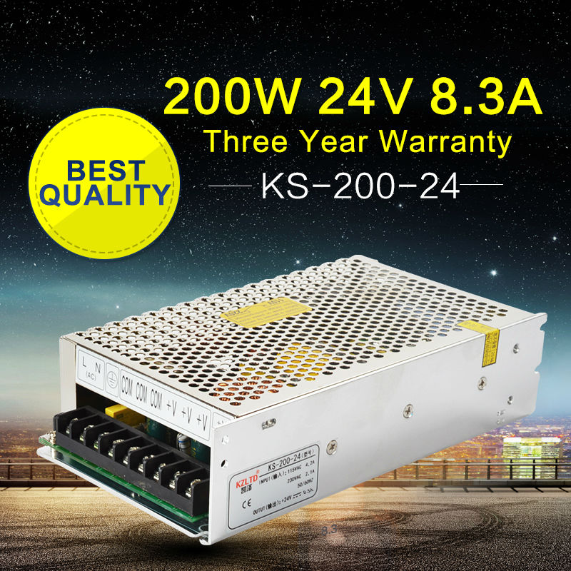 24V 200W LED Transformer Adapter 110V / 220V AC to 24V DC Regulated Power Supply for LED Light Monitor 3D Printers CCTV Camera