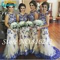 Charme azul 2016 vestidos dama de honra Ruffles andar de comprimento Sheer Strap bordados Maid of Honor Formal vestidos de noiva Plus Size
