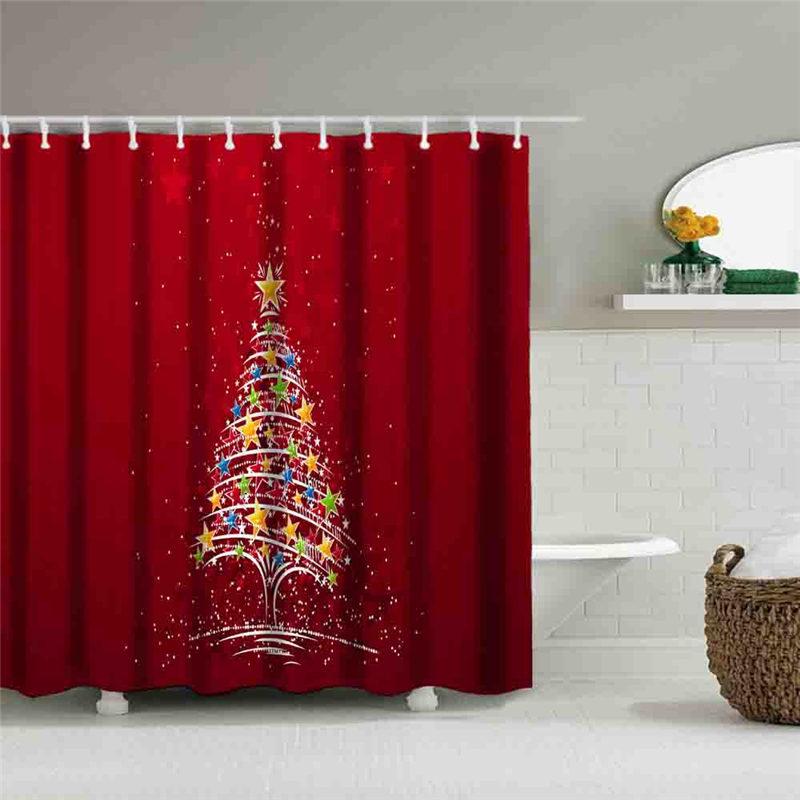 Creative Waterproof Shower Curtain Bathroom Christmas Decorations ...