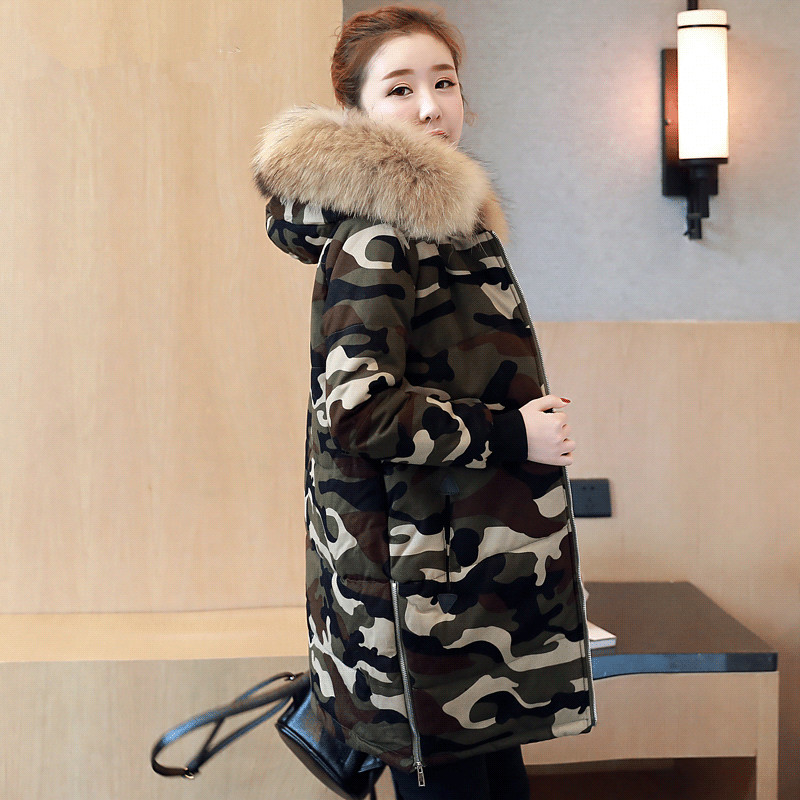 Camouflage Military Jackets 2019 Winter Jacket Women Chaqueta Mujer Thick Cotton Maxi Coats Hooded Fur Collar Winter   Parka   C3443