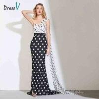 Dressv Elegant Black White Spot Evening Dress Pleated One Shoulder Sweep Train Floor Length Prom Dress Mermaid Evening Dress