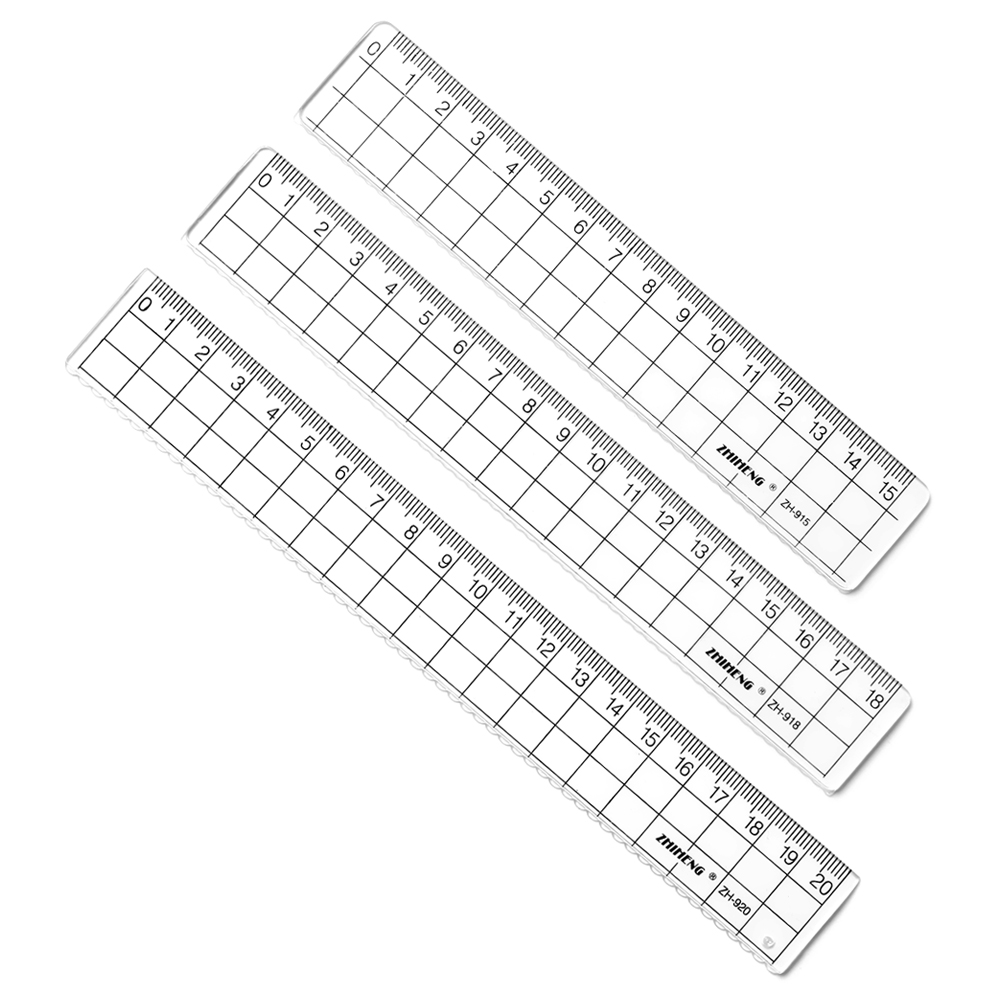 2 PCs Transparent Square Ruler Stationery 15/18/20cm Simple Acrylic Ruler For Math Learn Drawing School Student Supplies
