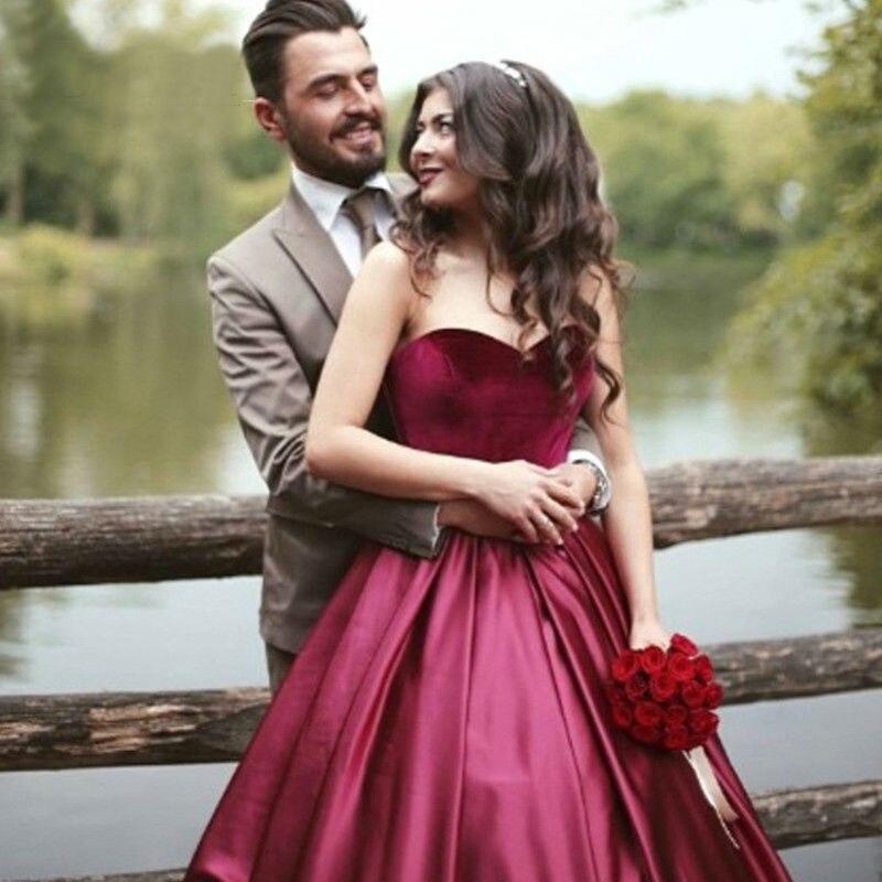 Burgundy Prom Dresses Soft Velour Sweetheart Evening Gown Vestido De Festa Princess Party Dress For Weddings Robe De Soiree