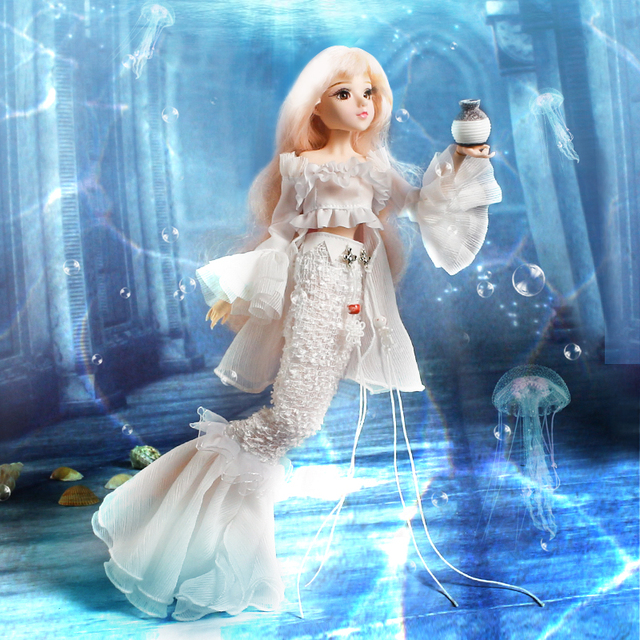 1/6 BJD MMGirl 12 Constellations Series Pisces Joint Body with White Mermaid Dress and Doll Stand