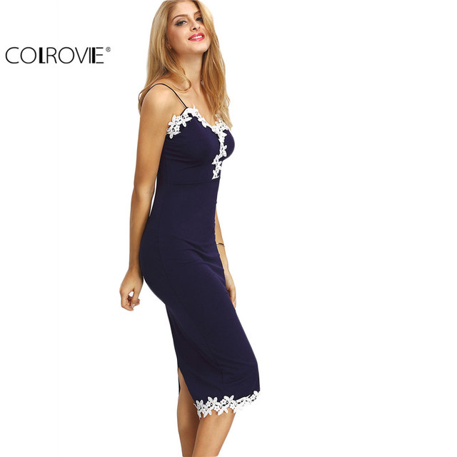 COLROVIE Women Navy Contrast Lace Split Back Sheath Midi Bodycon Dresses Spaghetti Stripe Summer Sexy Fitness Pencil Dress