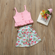 2pcs/set Baby Girls Clothes Pink Anchor Tops+ Flamingo Shorts Outfits Set Summer Girl