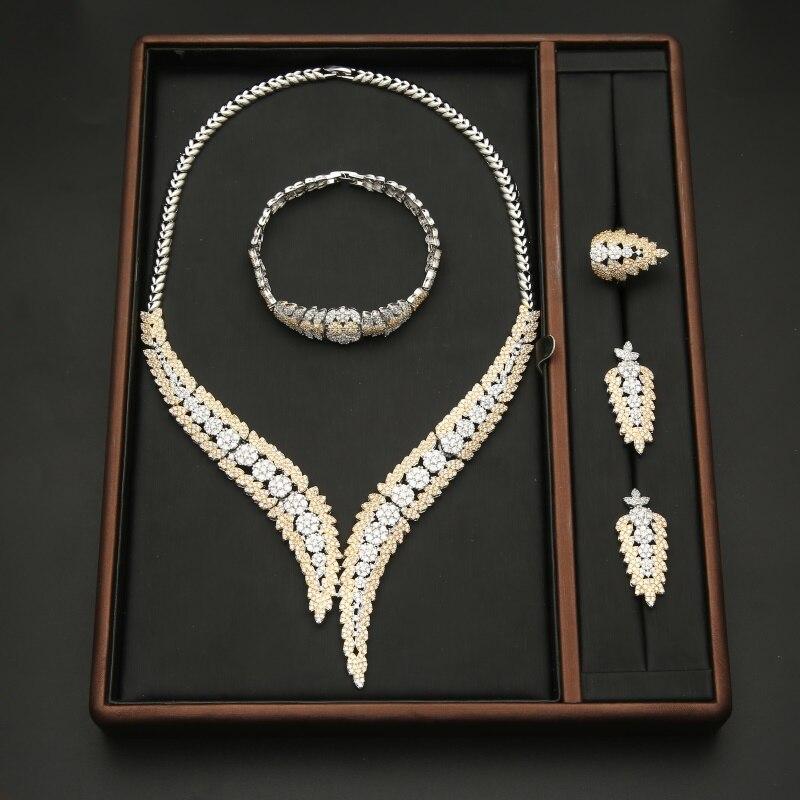 10 Style cubique zircone africain indien cuivre collier boucle d'oreille anneau Bracelet Dubai nigérian mariage bijoux ensembles pour femmes mariée