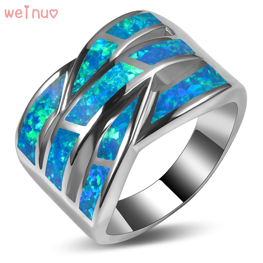 цена на Weinuo Blue Fire Opal Ring 925 Sterling Silver Top Quality Fancy Jewelry Wedding Ring Size 5 6 7 8 9 10 11 A313