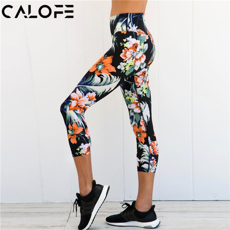 2018 Women Floral Printed Running Pants Fitness Trousers Sport Leggings Push Up Lady High Waist Jogger Pants Exercise Quick dry
