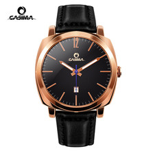 New Fashion Men's Watches Rose Gold Quartz Movement Three Hands Leather Strap Wa