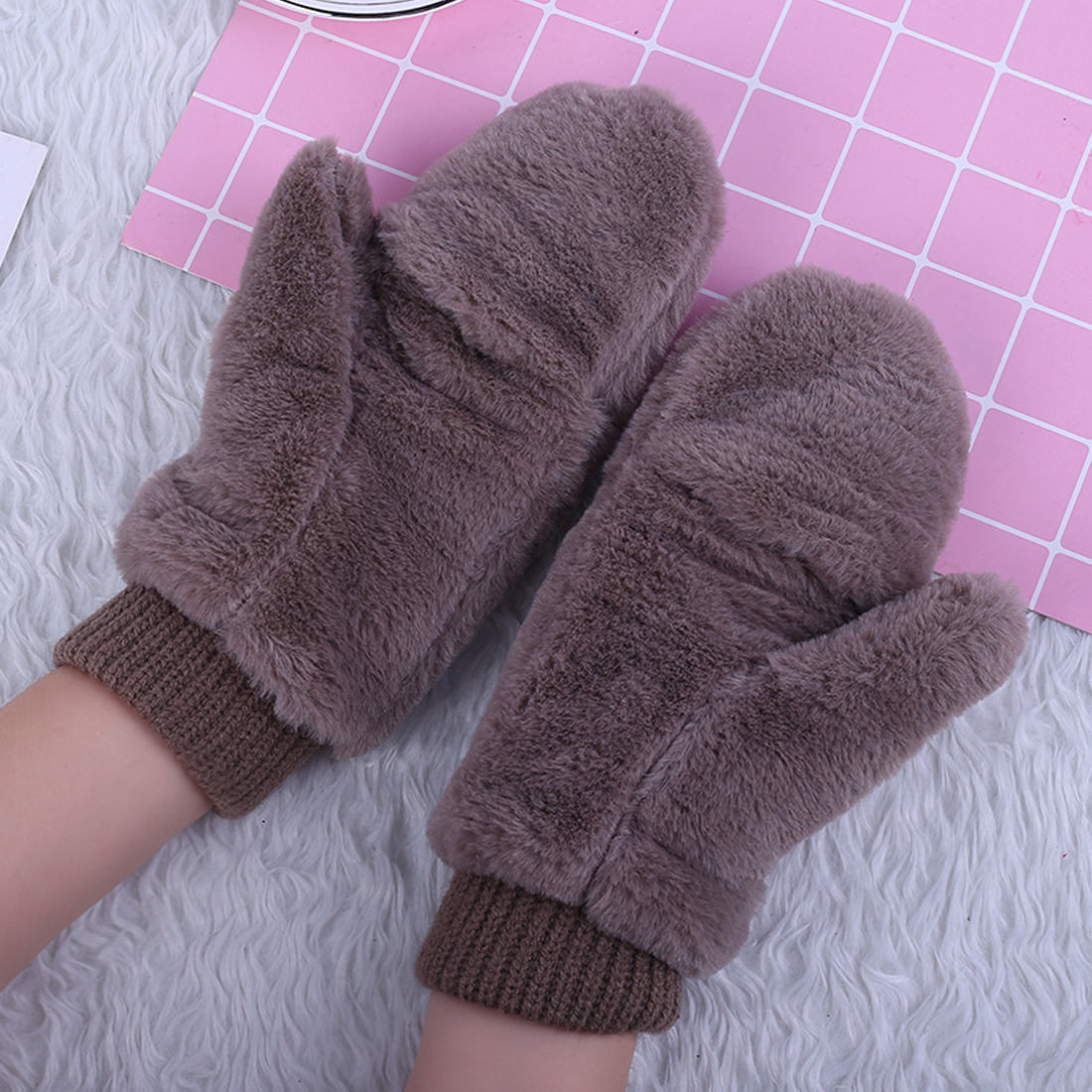 Hot Winter Thickened Cute Whole Covered Finger Mittens for Women Plush Gloves Fluffy Rabbit Dual-layer Hang on Neck Type Mittens