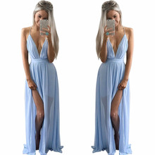 Fengguilai Women Long Summer Style Beach Sky Blue Color Sleeveless Maxi  Dress ede6f2a2eea3
