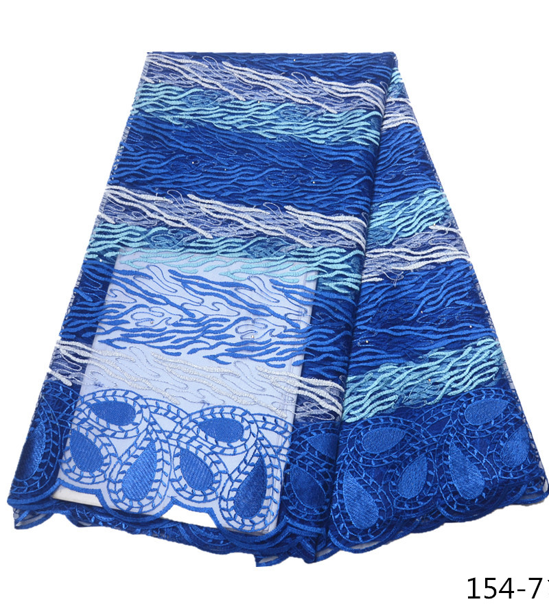 African Lace Fabric Blue Color High Quality 5 Yards Tulle French Net For Evening Dress 154