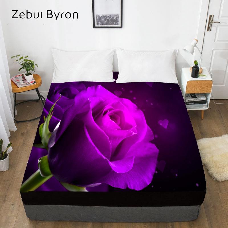 3D Custom Bed Sheet With Elastic,Fitted Sheet Queen/King,Rose Flower Mattress Cover, 200/150/160/180x200 bedsheet,drop ship