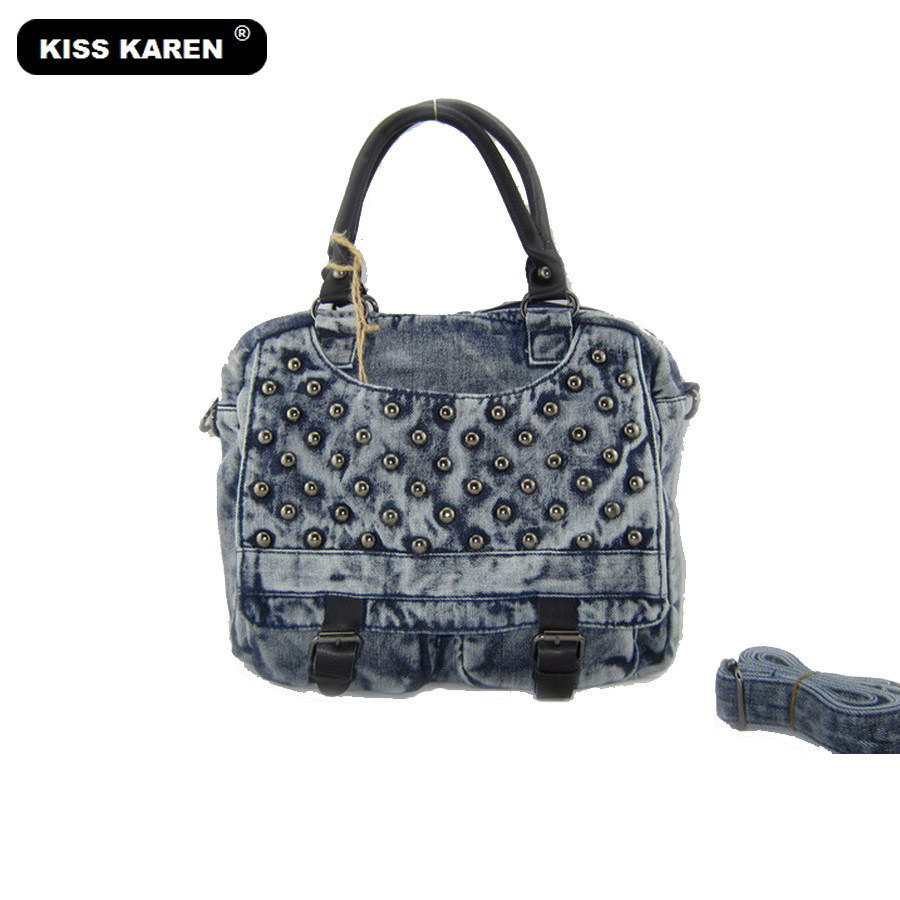 KISS KAREN Rivets Design Vintage Fashion Denim Women Bag Lady Handbags Women's Shoulder Bags Jeans Women Messenger Bags vintage women jeans calca feminina 2017 fashion new denim jeans tie dye washed loose zipper fly women jeans wide leg pants woman