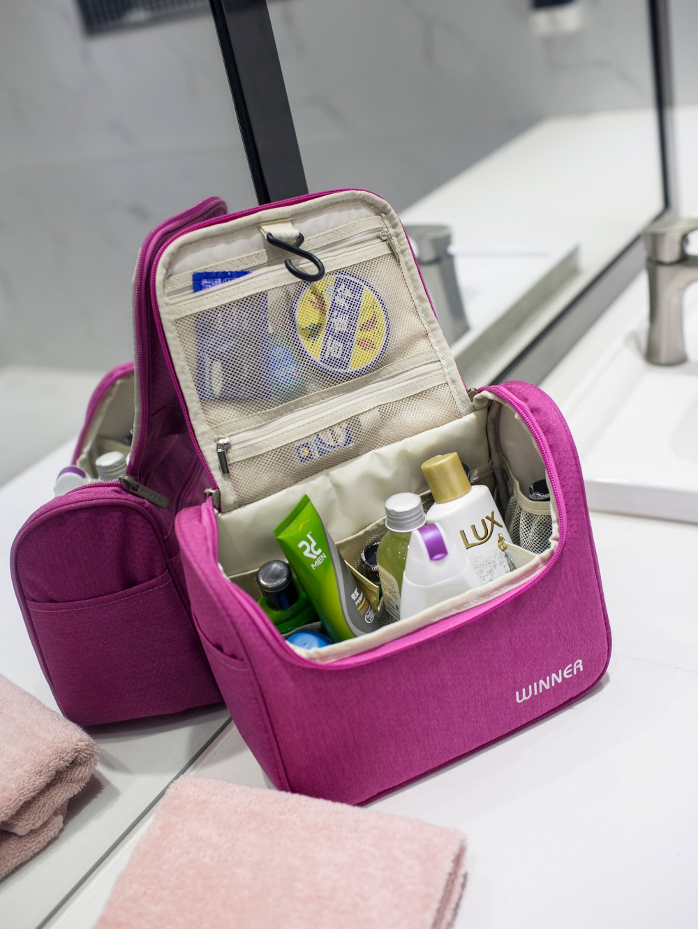 7971fa872e65 US $15.0 |Women Travel Organizer Bag Girl Cosmetic bag Hanging Makeup bags  Washing Toiletry kits storage Bags-in Cosmetic Bags & Cases from Luggage &  ...
