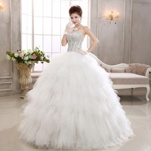 QQC581#The new 2017 Swan house bride wipes bosom diamond set auger show thin feather maxi Princess wedding dress white