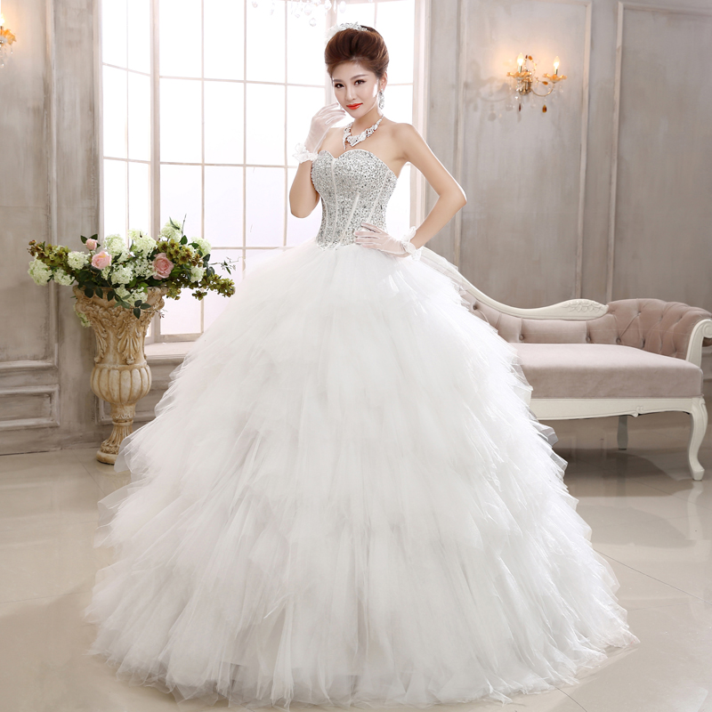 qqc581the new 2017 swan house bride wipes bosom diamond set auger show thin feather maxi princess wedding dress white
