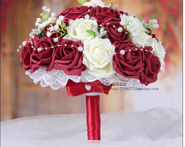 2017 Barato Romántico Blanco y Vino Rojo/Borgoña dama de Honor Nupcial Hecho A Mano Rosa Artificial de La Boda/la Dama de honor Ramos de Flores de Accesorios