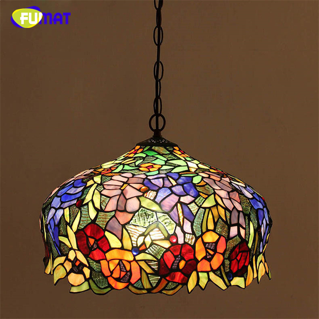 FUMAT Stained Glass Pendant Light European Style Art Lights Living Room Dining Classic Lamp