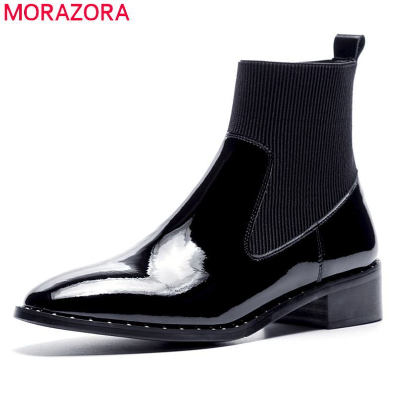 MORAZORA 2018 new fashion ankle boots for women square heel genuine leather boots slip on ladies autumn boots dress shoes woman fashion shoes women boots in ankle boots flock square heel non slip leopard print martin boots for autumn
