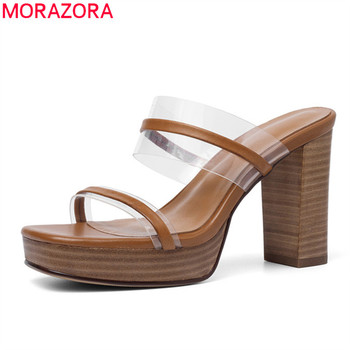 MORAZORA 2019 top quality genuine leather shoes women summer high heels platform shoes pvc rome sexy party dress women sandals