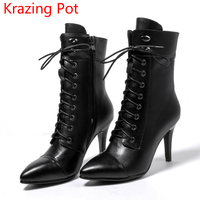 2018 Genuine Leather Metal Decoration Fashion Winter Boots Pointed Toe Stiletto High Heel Preppy Style Women