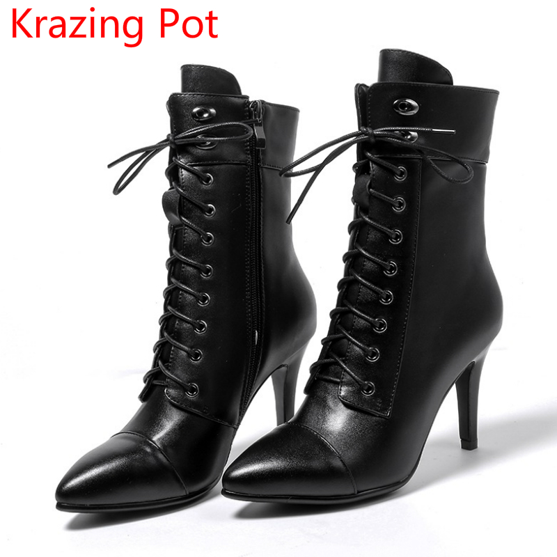 2018 Genuine Leather Metal Decoration Fashion Winter Boots Pointed Toe Stiletto High Heel Preppy Style Women Mild-calf Boots L40 fashion pointed toe lace up mens shoes western cowboy boots big yards 46 metal decoration
