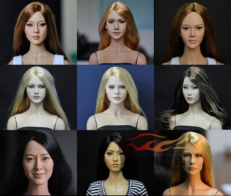 1/6 scale female head shape for 12 action figure doll accessories doll head carved not include the body,clothes and other KM36 1 6 figure doll head shape for 12 action figure doll accessories game of death bruce lee head carved not include body clothes