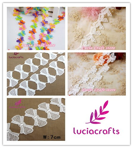 Multi types options butterfly bow trim shaped lace craft sewing trim embroidery Lace Trim DIY Sewing Craft 1yard/ 2y 050025050