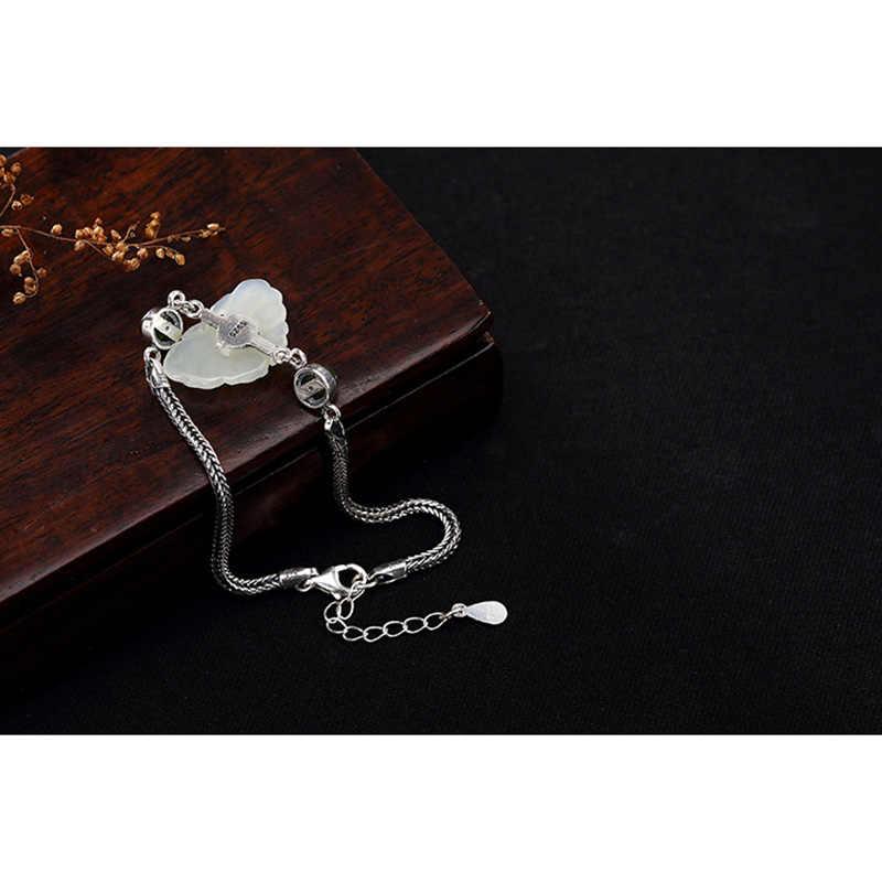 Prawdziwe czysta 925 srebrny srebrny motyl spinki do mankietów bransoletki naturalne Jade oświadczenie inspirujące bransoletki Manchette Argent