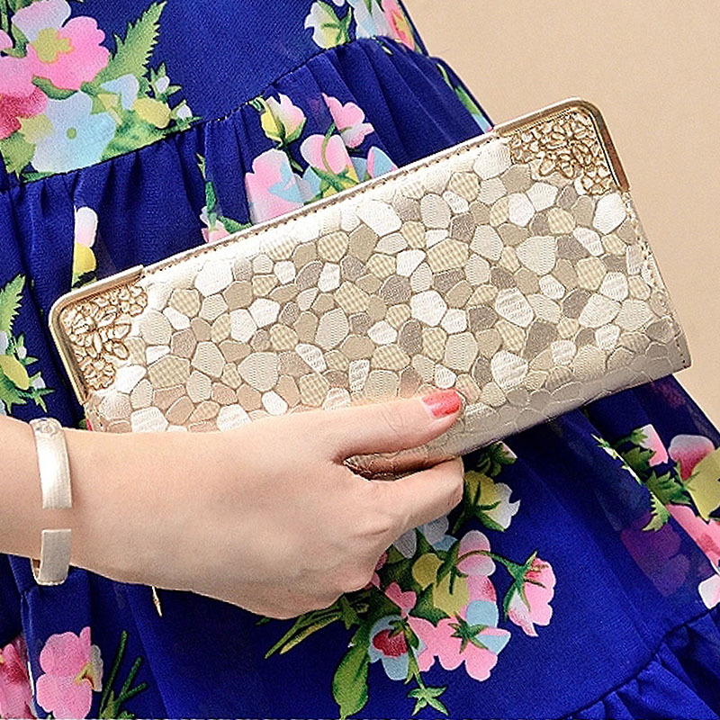 Luxury Famous Brand Clutch Bag Gold Silver PU Leather Female Money Wallets Long Women Purse Women Evening Party Bags Hot 2017