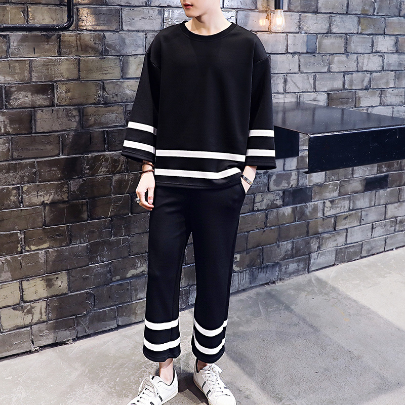 Loose Casual Men Pullover Mens Tracksuit Black White StripeJogger Sportsuits Flare Hem Pants Trainingspak Mannen Chandal Hombre