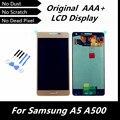 100% original lcd para samsung galaxy a5 a500 a5000 touch screen display lcd com digitador assembléia peças de reposição cor de ouro